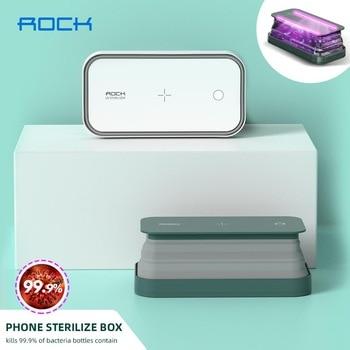 ROCK telefonos sterilizáló UV fertőtlenítő doboz, multifunkcionális ultraibolya fertőtlenítő vezeték nélküli töltővel a telefon és maszk higiéniájához