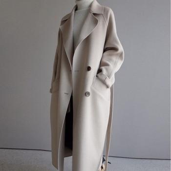 Téli bézs Elegáns gyapjú keverék kabát