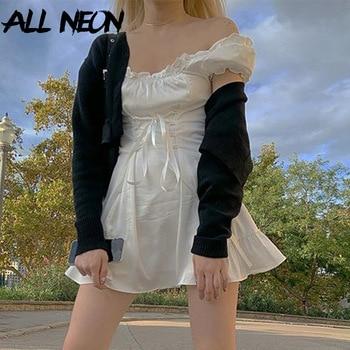 ALLNeon Vállpántos csipke mini ruha
