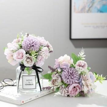 Hortenzia selyem virágok esküvői asztaldísz