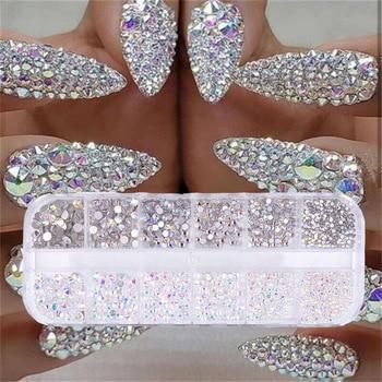 12 doboz / készlet AB kristály strasszos gyémánt drágakő